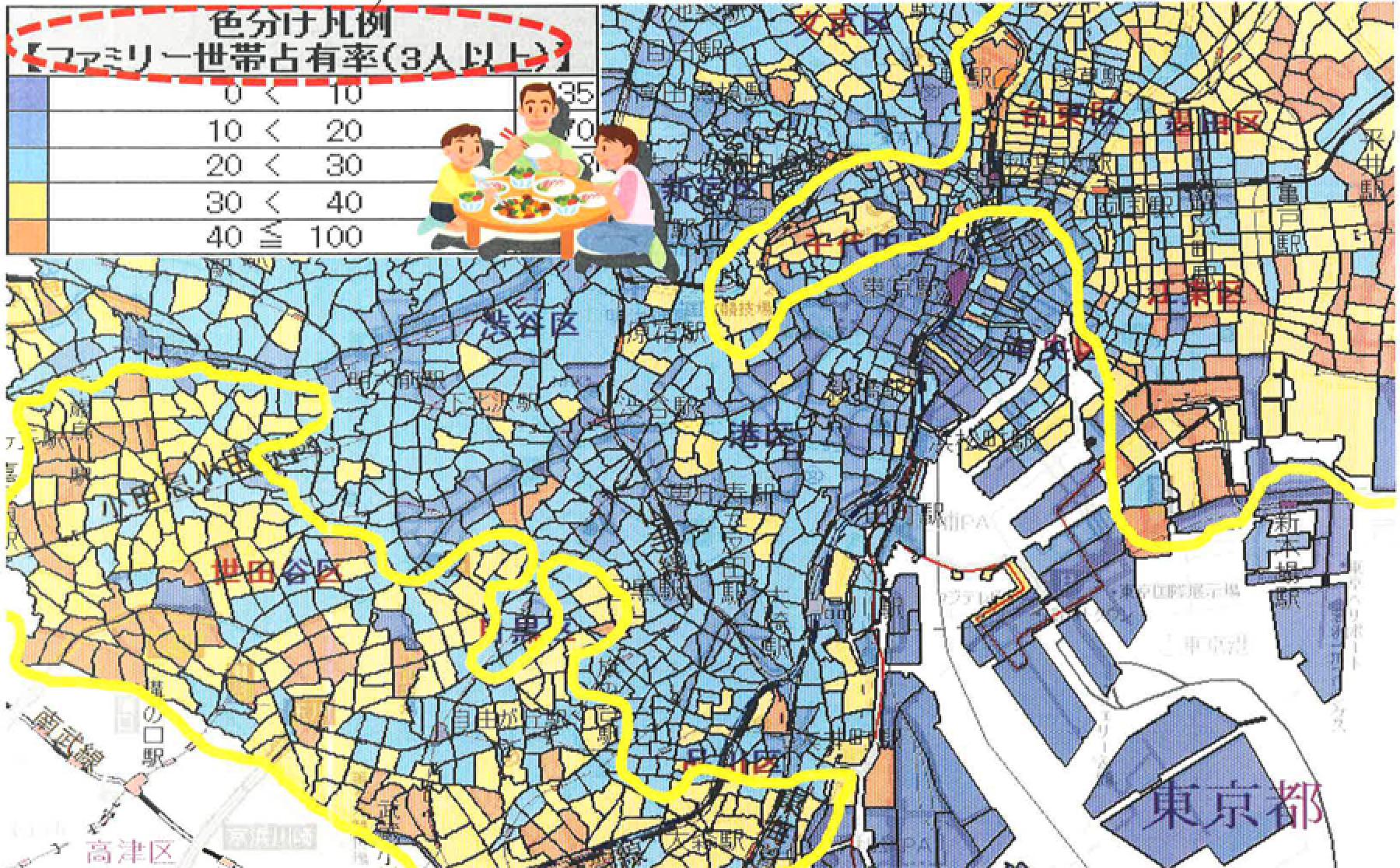 黄色で囲ったエリアが当たりの良いエリアです