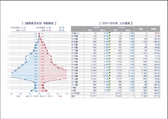 国勢調査をもと年齢構成や人口増減を検証